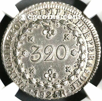1825-R NGC AU BRAZIL Silver 320 Reis Imperial Coin 18K Minted (17061302C)