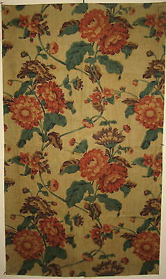 Antique Beautiful 19th C. French Floral Cotton Chintz Print Fabric (9143)