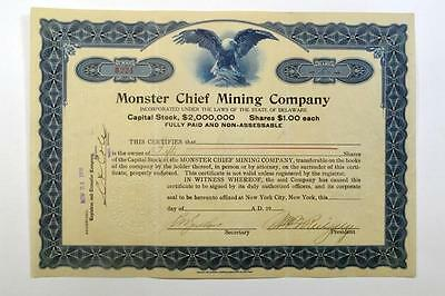 Monster Chief Mining Co., 1916 Issued Stock Certificate