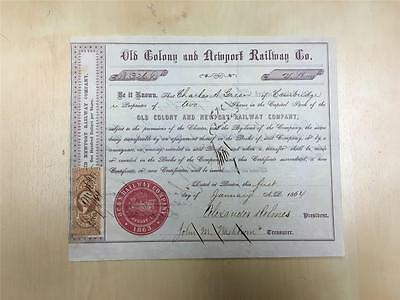 Old Colony and Newport Railway Co., 1864 Issued Stock Certificate