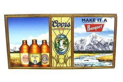 """NEW Classic Coors Banquet Beer Embossed Metal Tin Tacker Sign 24""""x12"""" Man Cave"""