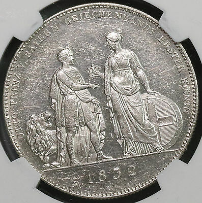 1832 NGC AU 55 Otto King of Greece Bavaria GERMAN State Coin (16111514C)
