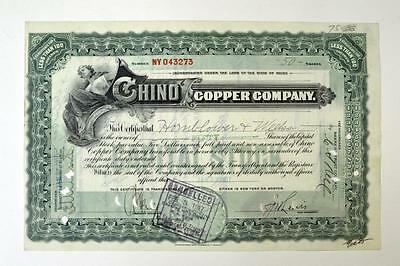 Chino Copper Co., 1917 Issued Stock Certificate