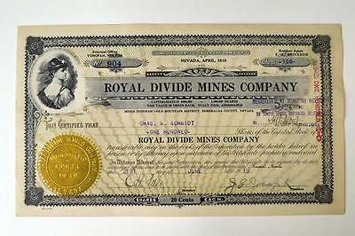 Royal Divide Mines Co., 1919 Issued Stock Certificate