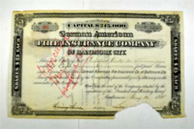 German American Fire Insurance Co., 1885 Issued Stock Certificate