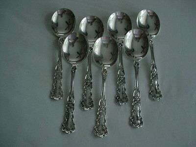 """7 Gorham Sterling BUTTERCUP 6 1/8"""" Round Soup Spoons Lion Anchor Markings"""