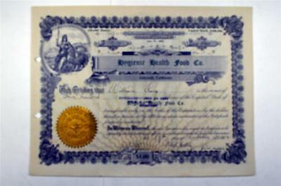 Hygienic Health Food Co., 1912 Issued Stock Certificate