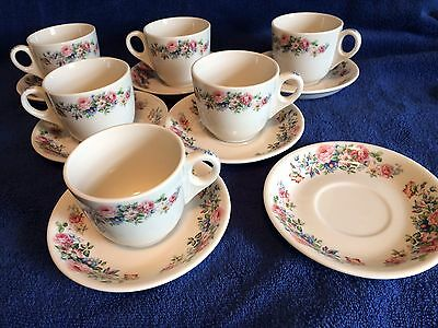 Old Ivory SYRACUSE China Floral Cups & Saucers 13 Pieces 1938-40 Era