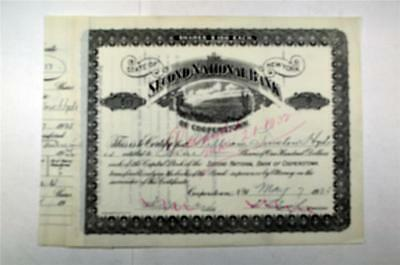 Second National Bank, 1925 Issued Stock Certificate