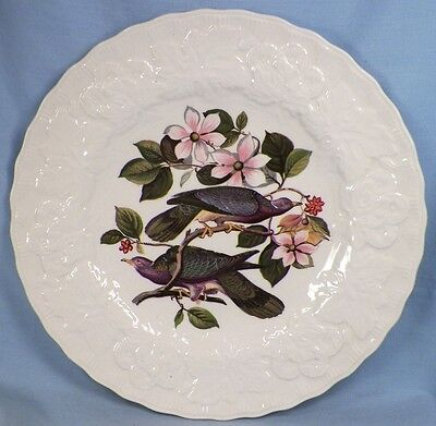 Alfred Meakin Band Tailed Pigeon Luncheon Plate Birds of America Flower Embossed