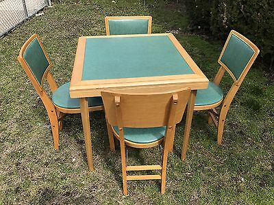 Vintage Stakmore Beautiful Set Folding Table W 4 Chairs Wood