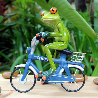 Cute Fun Riding Bike Bicycle Desk Figurines Green Resin Sculpture Decor Frogs 45