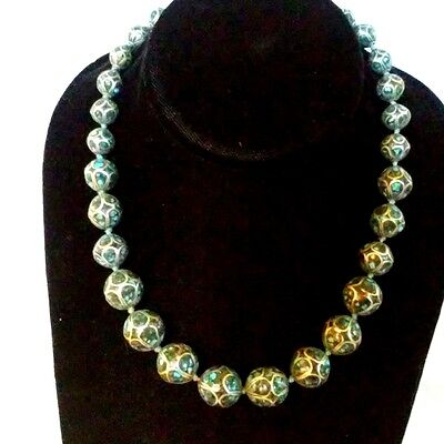 Antique Chinese Cloisonne  Enamel Large 14mm Bead Necklace Teal