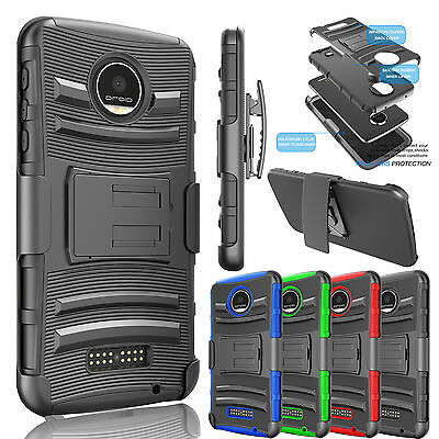 Shockproof Hybrid Clip Holster Case Cover for Motorola Moto Z Force / Play Droid