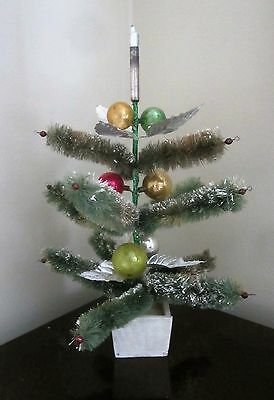 Vintage Bottle Brush Christmas Tree w/Foil Leaves, Glass Ornaments & Glass Beads