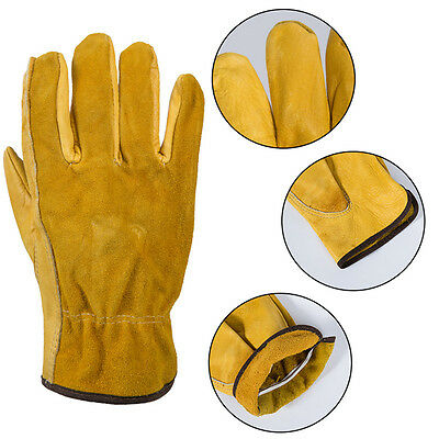 Hot Leather Gloves Working Protect Glove Security Garden Labor Gloves Wear 1Pair