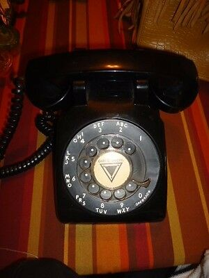 Vintage 1950s? BLACK Bell South Western Electric Rotary Phone Desk Telephone