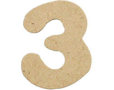 SALE - 10 Small 40mm Wooden MDF Numbers - 3 | Wood Shapes for Crafts
