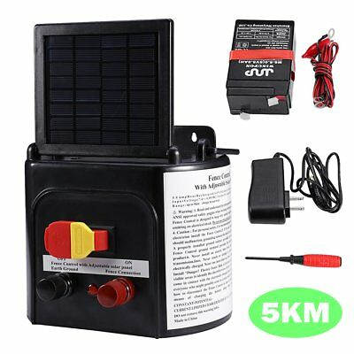 5km Solar Powered Electric Farm Fence Charger Energiser Kit + Adjustable Control
