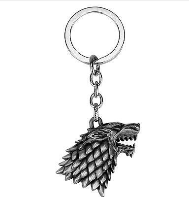 Game of Thrones House Stark Head 3D Metal Keyring Keychain Silver Color