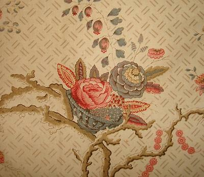 BEAUTIFUL EARLY 19th CENTURY FRENCH LINEN & COTTON INDIENNE ROSES, BASKETS