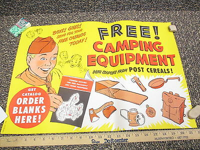 Post cereal box 1950s BOY SCOUT premium offer store display sign camping BSA