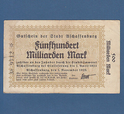 ASCHAFFENBURG 500 Milliarden Mark 1923 Erh. IV / Fine
