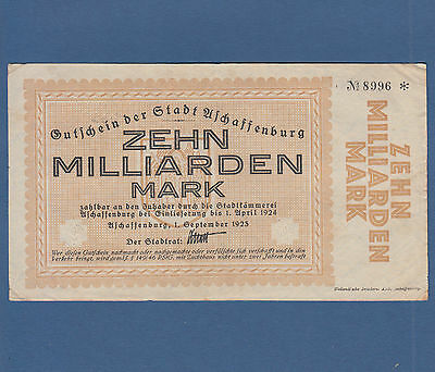 ASCHAFFENBURG 10 Milliarden Mark 1923 Erh. III / VF