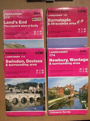 4 vintage ordnance survey maps LANDRANGER Barnstaple 180, swindon 173 etc