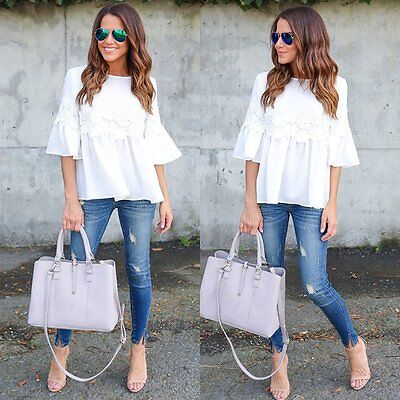 Fashion Womens Summer White Long Sleeve Casual Blouse Loose Cotton Tops T-Shirt