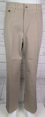 Vtg Flat Front Tapered Khaki Preppy Chino Trousers by Savane W32 L28 DO84