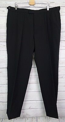Vtg Black Tapered Leg Satin Braid Formal Trousers W44 L32 DK60