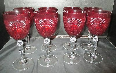"""Cristal d'Arques Set of 8 Antique Ruby Red 8"""" Water Goblets"""