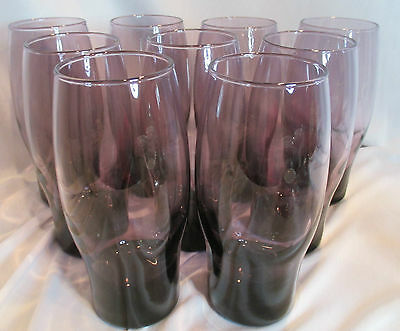 "Libbey 9 Purple Amethst 16)z. Tumblers Water Tea Glasses 6 5/8"" Tall Weighted"