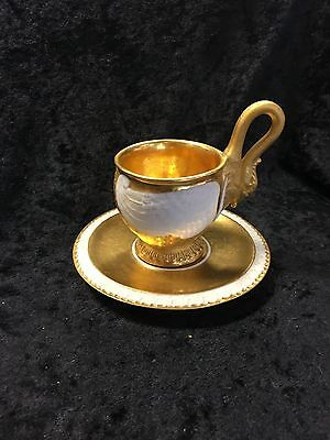 Sevres swan cup & saucer, gold encrusted and very old!