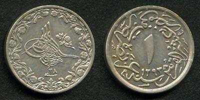 1902 Small Copper-Nickel Coin Egypt 10th Qirsh Ottoman Sultan Abdul Hamid II UNC