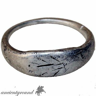 Wearable Roman Silver Decorated Ring Circa 300 Ad