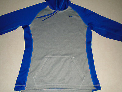 Nike Therma Fit Sport Mens Athletic Gray & Blue Hoodie Sweatshirt Size Small