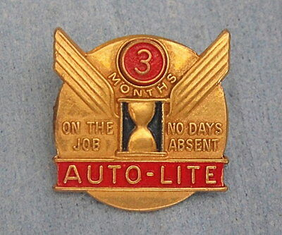 Vintage Auto-Lite Auto Parts Employee Award Pin Badge: On The Job No Days Absent