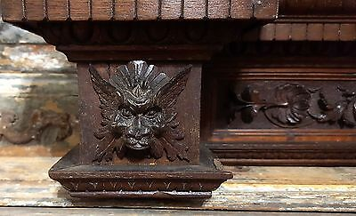 Hand Carved Wood Pediment Antique French Gothic Devil Bas Relif Crest Signed