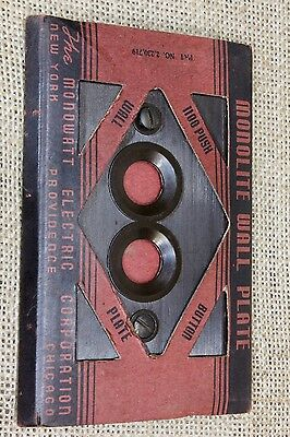 single push button Switch cover Plate brown Bakelite vintage 1900s new old stock