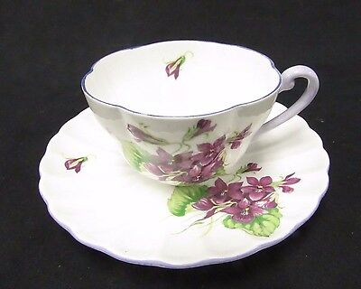 "Shelley Bone China Tea Cup & Saucer ""Violets"" 13821 Dainty Shape Y463"