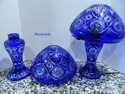 Pair of COBALT BLUE Cut to Clear BOHEMIAN LAMP With SHADE & PEDESTAL