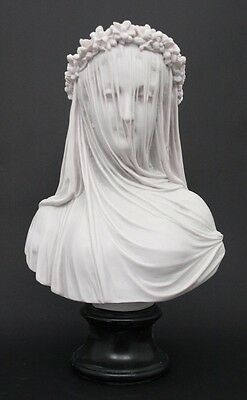 Veiled Bride - White Reconstituted Marble - Lady Bust - 35cm High - English Made