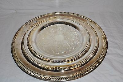 International Silver Co. Three-Piece Silver Plate Serving Platter Set - AJ