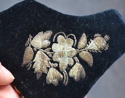 yoke collar velvet bullion beaded black silver Victorian Edwardian antique 1890