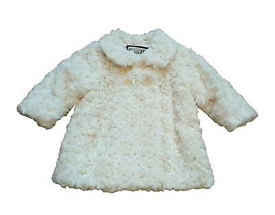 Baby Girls Coat Jacket Rose Fur Smart Wedding Winter Warm Dress Cream 0/3M -3Y