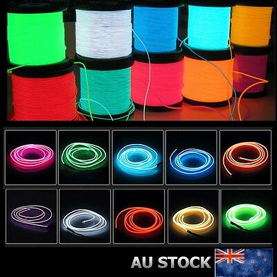 3/5M Flexible Neon Light Glow EL Wire Strip Tube Rope Party Xmas Light String