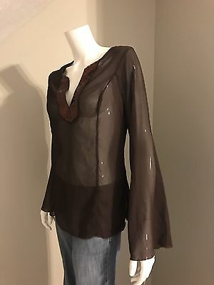 Women's Soulmate Brown Long Sleeve V-Neck Sheer Blouse Size Large NWT