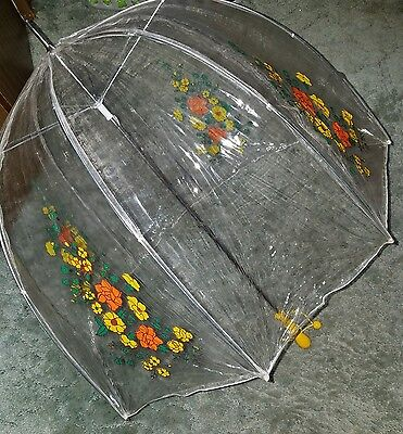 Vintage 1970's Dome Umbrella-Clear With Orange Flowers-Yellow Wood Handle